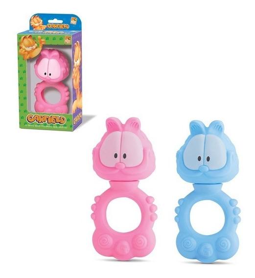 Chocalho Mordedor Garfield Bebê Brinquedo Infantil Azul Ou Rosa