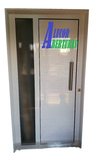 Puerta Reforzada Aluminio Barral 90x200 Mod 18 Vidrio 4mm