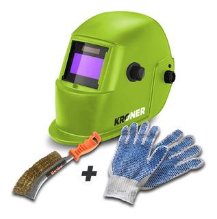 Máscara De Soldar Fotosensible Casco Kroner Premium + Kit