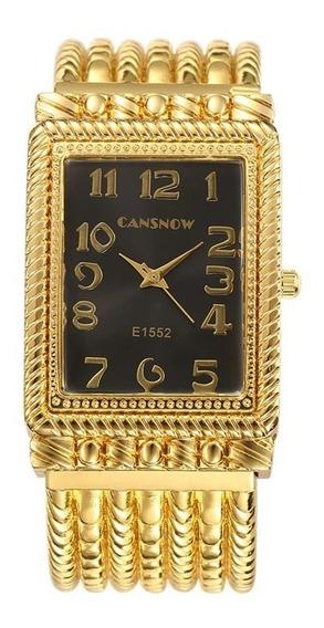 Bracelete Feminino Relógio Dourado Presente Criativo