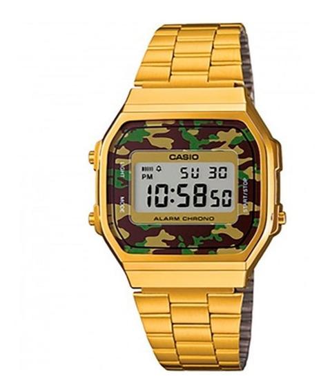 Relógio Casio Dourado Camuflado A168wegc-3df + Frete