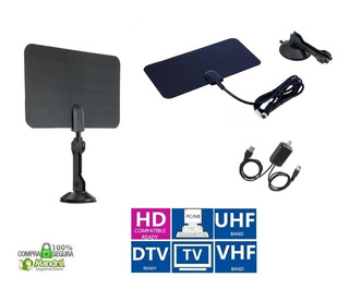 Antena Tv Digital Tdt Hd Interior Plana Base Booster Vhf Uhf