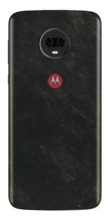 Skin Pelicula Adesivo Mármore Gold Black Moto G7 Plus
