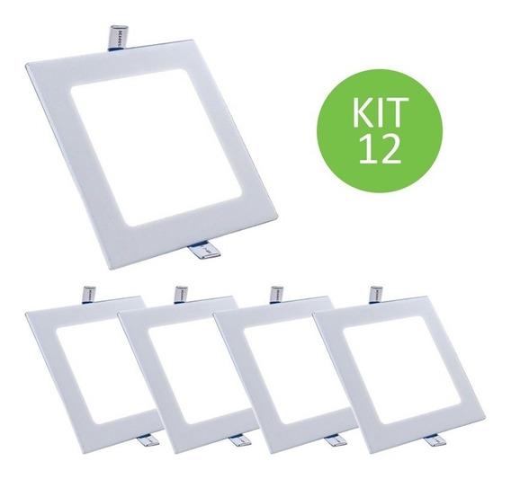 Plafon Painel Led Embutir 18w Branco Neutro Quadrado Kit 12
