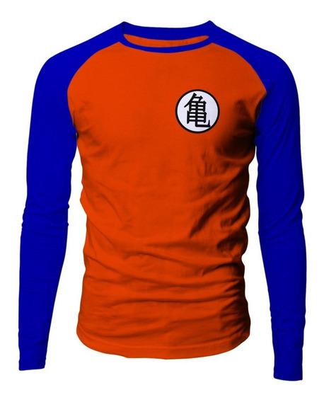 Camiseta Masculina Dragon Ball Goku Kame Sennin Mestre Manga Longa Raglan