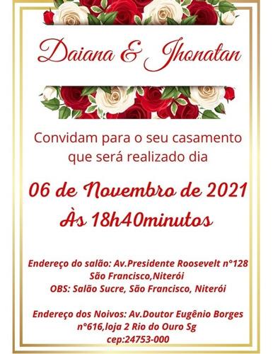 Imagem 1 de 4 de Convite De Casamento Vermelho