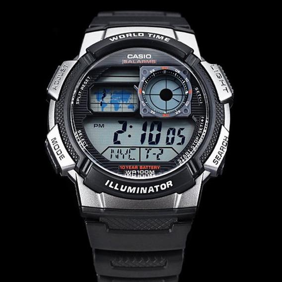 Relogio Casio Ae-1000 Hora Mundial Bateria P/ 10 Anos Novo