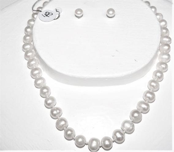 Collar Perlas Blanca Ca. 9-10 Mm Cultivada 48