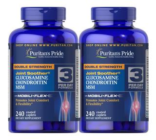2x Glucosamina Condroitina 1500 Msm Puritans 240 Caps