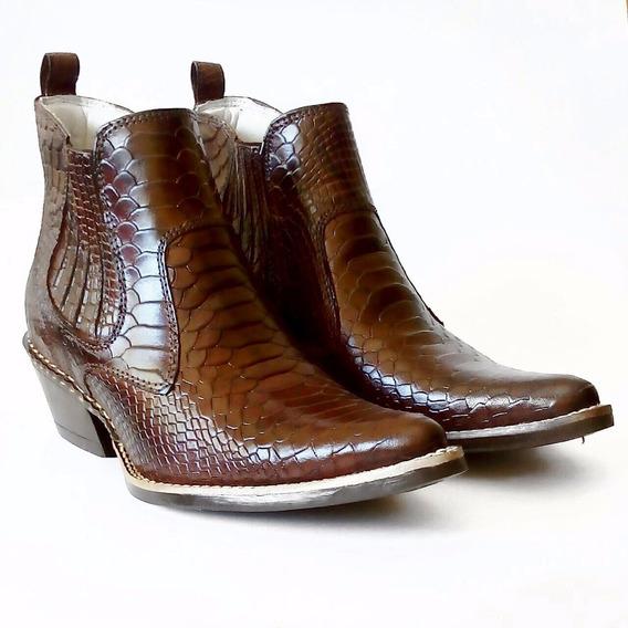 Botina Masculina Bico Fino Anaconda Tabaco Country Texana