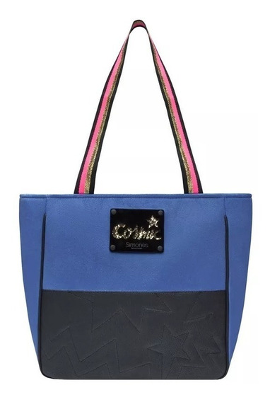 Cartera Negro/azul Pana Cuero Simones Original Cosnic 30x30
