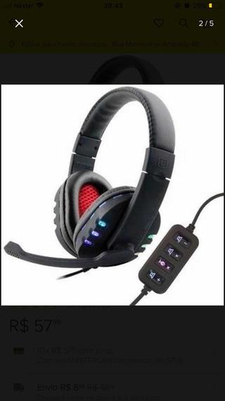 Headset Usb Para Pc Com Leda Colorido