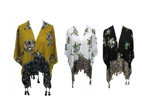 Kimono Cortos Fibrana Sacos Floreados Flecos Zaphir 3501