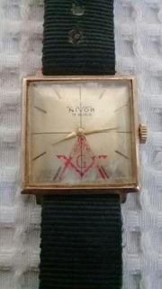 Antiguo Reloj A Cuerda Funcionando Con Simbolo Masonico 8.00