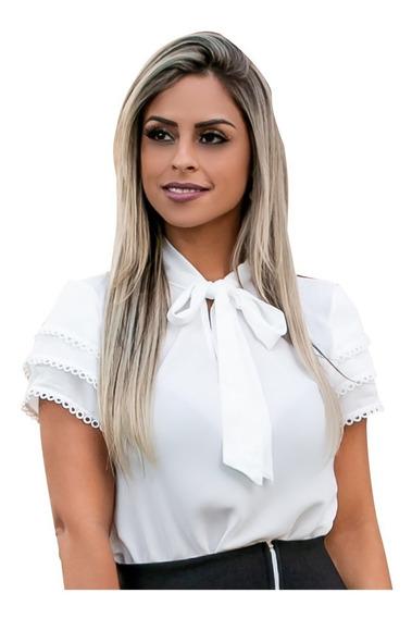 Blusa Feminina Social Moda Evangelica Detalhe Laço Renda