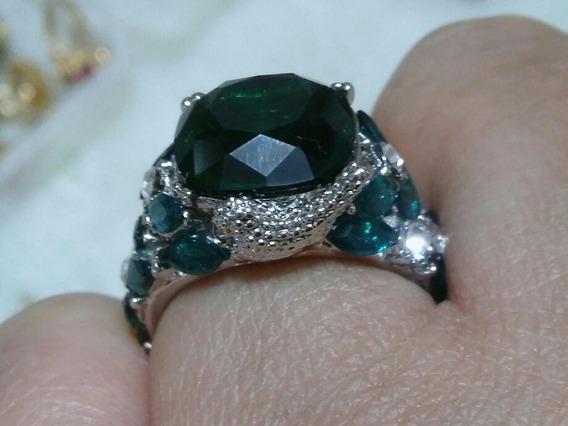 Anel De Prata 925 Pedra Verde Zircon Esmeralda