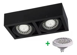 Aplique Plafon Box Cardanico 2 Luces Lampara Led Ar111 24w
