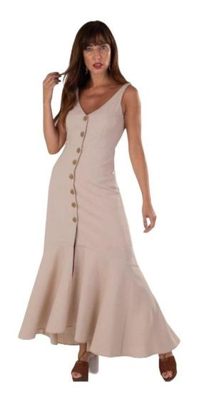 Vestido Longo Com Botões Em Linho - Roupas Femininas