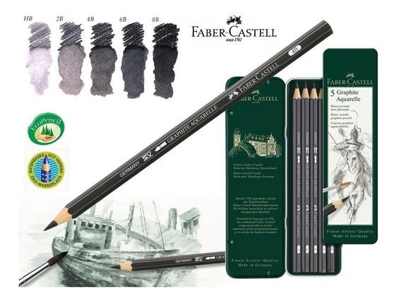 Lapis Grafite Aquarelavel Faber Castell Estojo 05 Graduaçoes