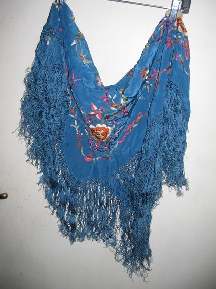 Chalino Andaluz Azul Bordada A Mano, Impecable,seda Fflecos
