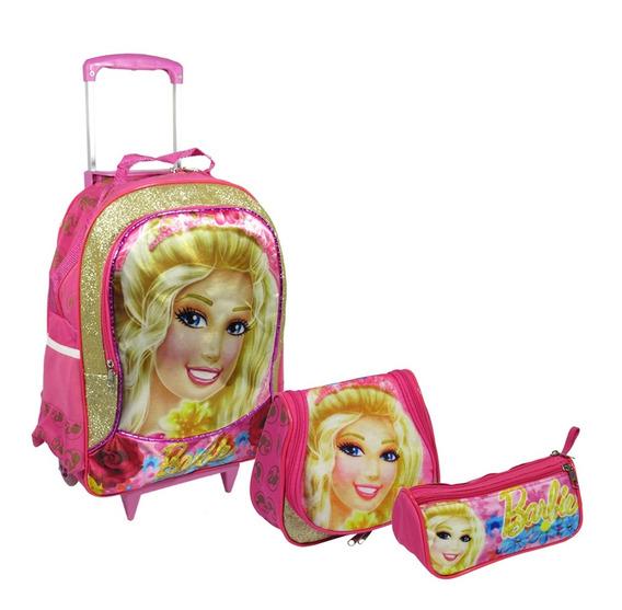 Kit Escolar Infantil Mochila Rodinhas Barbie Princesa Tam G