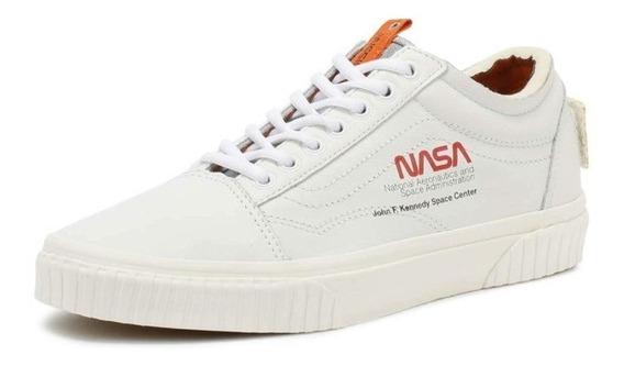 Tenis Vans Old Skool Low Nasa Space Voyager Branco Couro -42