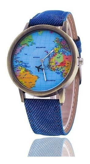 Relogio Mapa Mundi Quartzo Luxo Moda Azul Barato