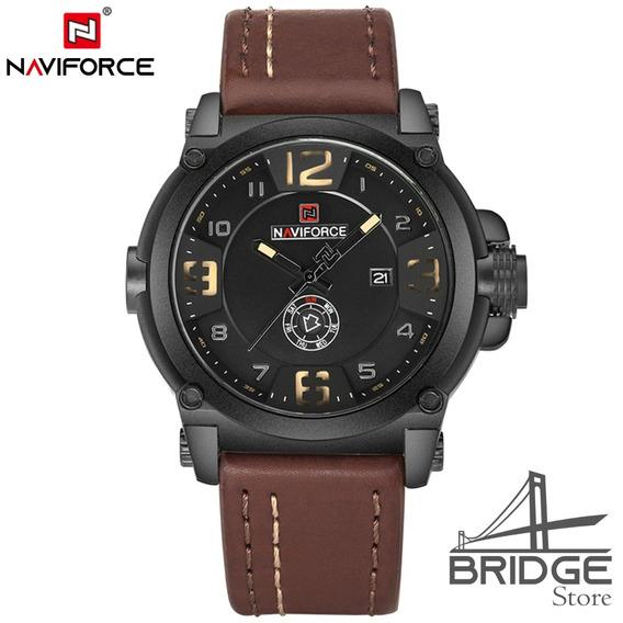 Relógio Naviforce 9099 Premium Couro Legítimo Original