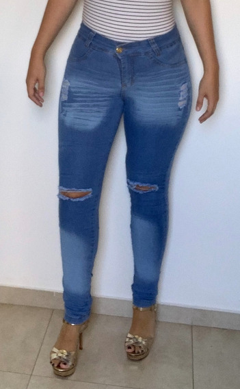 Calça Jeans Feminina Cintura Alta Lycra Estilo Kardashian