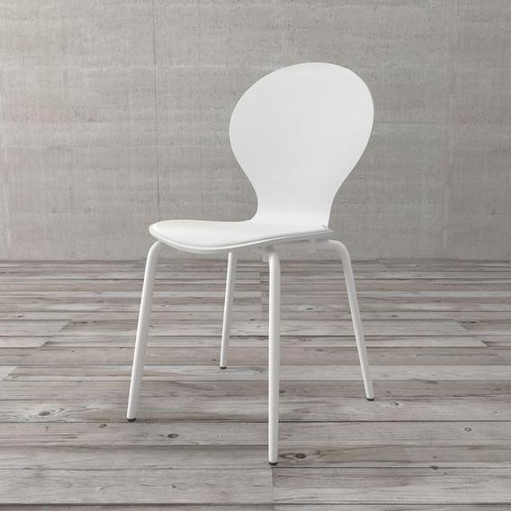 Cadeira Shell De Madeira E Aço Carbono Branca