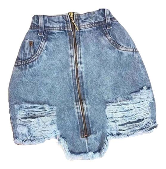 Saia Jeans Com Zíper Frontal Frente Roupas Femininas