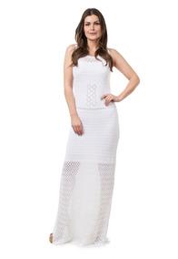 Vestido Longo Feminino Tricot Crochê Festa Noiva Branco