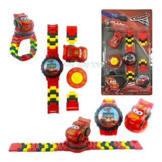 Disney Cars Reloj + 1 Mini Figura Auto Rayo Mcqueen
