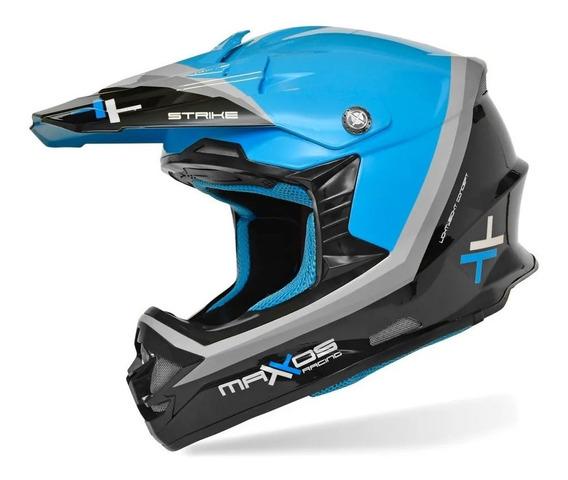Capacete Mattos Racing Strike Preto Azul Cross Lançamento