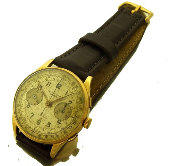 Relógio Cronografo Geneva Sport Geneve 17 Rubis Em Ouro 18k Cronometro Segundeiro Pulso Masculino J22088
