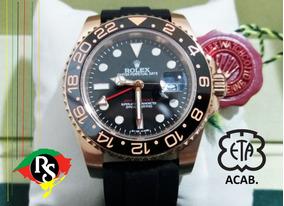 Relógio Gmt Master Preto Rose Cerâmica Safira Borracha