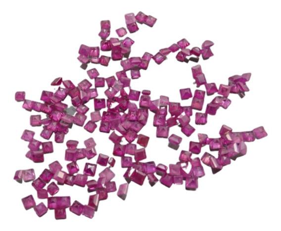Lote Com 40 Pedras De Rubi Facetado Carrê ~ 2 Mm
