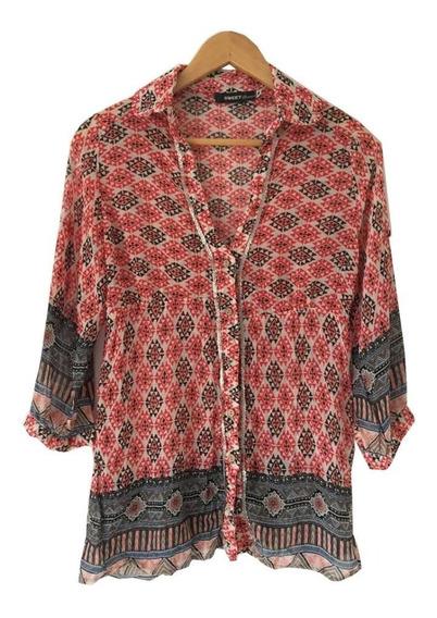 Camisa Blusa Talle Imperio Motivo Étnico Y Lentejuelas Sweet