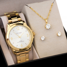 Relógio Nowa Feminino Dourado Original Nw1026k Kit Brinde