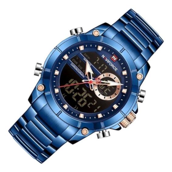 Relógio Masculino Naviforce 9163 Resiste Água Azul Casual
