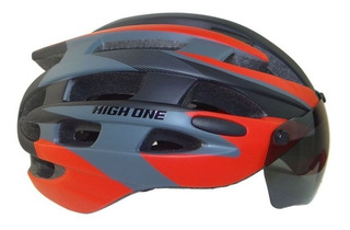 Capacete Ciclismo High One Óculos E Pisca Preto/vermelho M