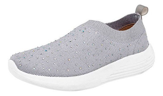 Sneaker Casual Mujer Gris Liso 51259dtt Mules Bisuteria