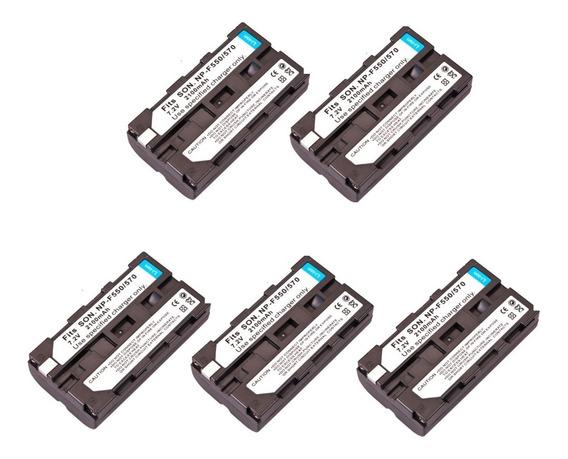 5 X Bateria Np-f550 F570 Iluminador Led 2200mah Hd160 Cn160
