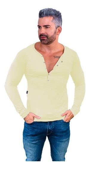 Camisa Henley Botão Masculina Slim Básica Manga Comprida