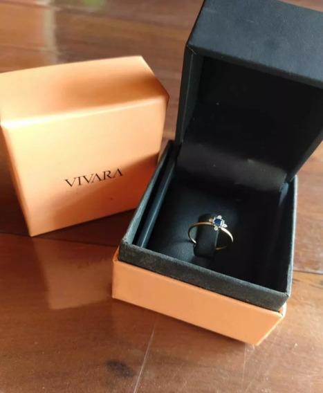 Anel Ouro 18k Safira E Diamantes Vivara