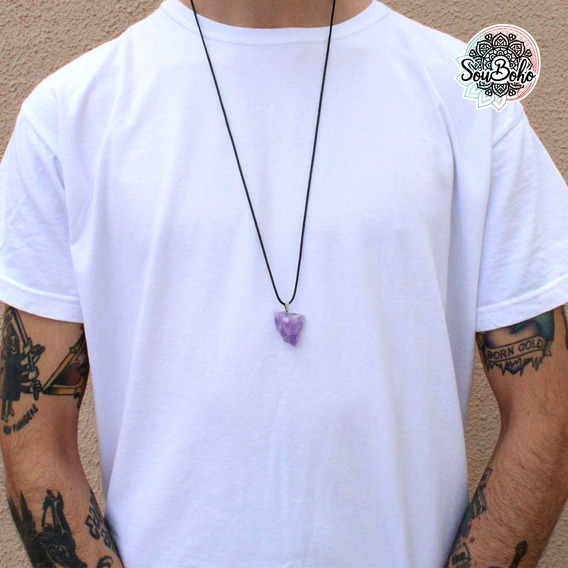 Colar Masculino Pedra Natural Bruta Ametista Roxo Hippie