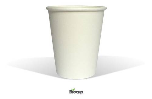 Vaso Ecológico De Papel 8 Oz Blanco Biocup, Reciclable 100%