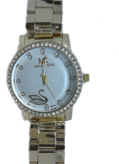 Relógio Feminino Dourado Cravado Barato