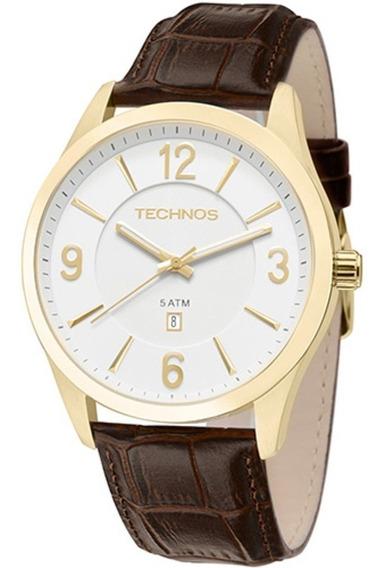 Relógio Technos Aço Dourado Pulseira De Couro 2015bze/2b