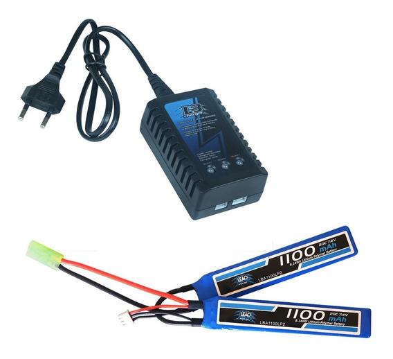 Bateria Lipoly 7.4 1100mah Airsoft Eletrica + Carregador B3